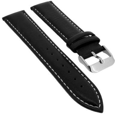 Minott | Uhrenarmband Leder glatt gepolstert mit Kontrastnaht schwarz – Bild 1