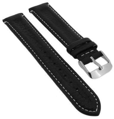Minott > Uhrenarmband Leder schwarz weich Kontrastnaht > Doppelwulst – Bild 1