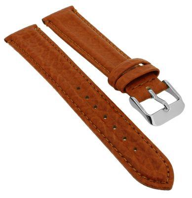 Minott > Uhrenarmband braun weich Leder Doppelwulst > Ton in Ton Naht – Bild 1