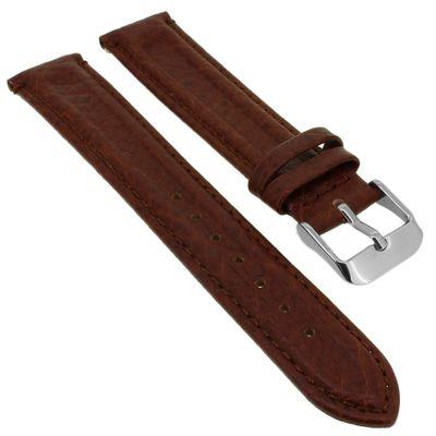 Minott Uhrenarmband Doppelwulst braun weiches Leder > Ton in Ton Naht – Bild 1