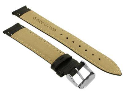 Minott > Uhrenarmband Krokooptik > Lederband schwarz > Kontrastnaht – Bild 2