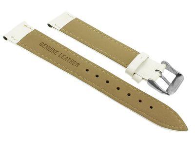 Minott > Uhrenarmband Krokooptik > Lederband weiß > Ton-in-Ton-Naht – Bild 2