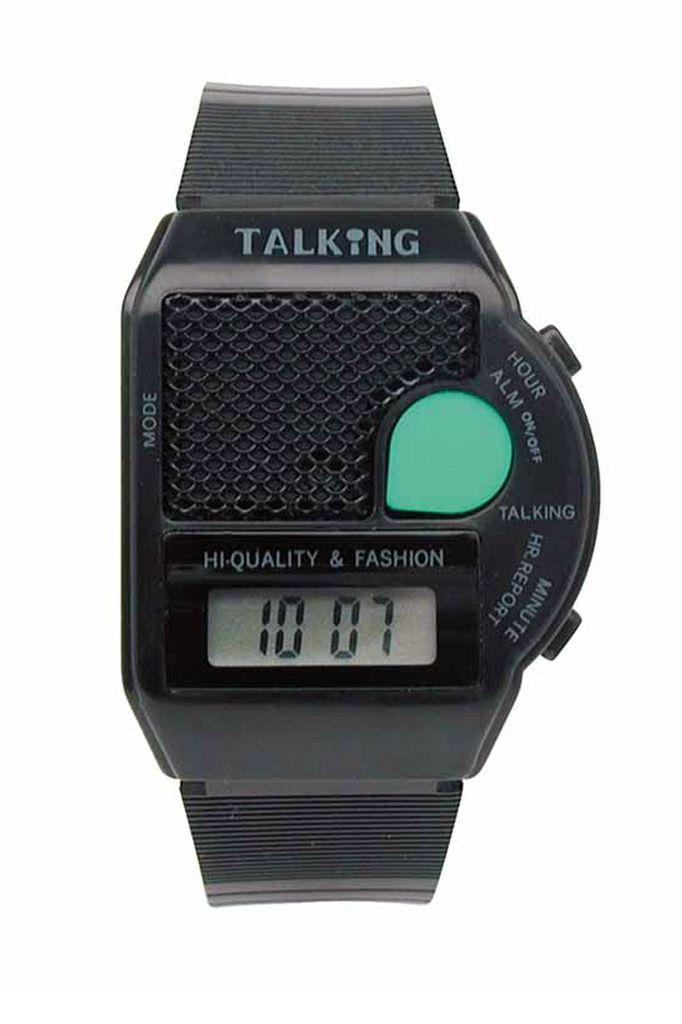 Sprechende Uhr Schlüsselanhänger mit Alarm Uhr mit Sprachausgabe schwarz