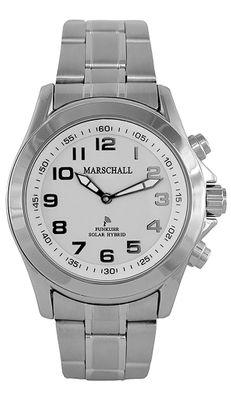 Marschall ☼ TALKING WATCH > Herrenuhr Ø46mm | Hybrid Solar | Edelstahl