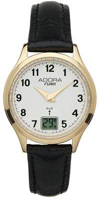 Adora Funk Damenuhr Ø 29mm Armbanduhr Analog 5 BAR schwarzes Lederband