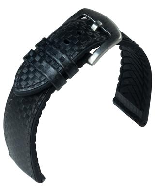 Eulit Eutec > Uhrenarmband schwarz Carbon-Optik > Naht atmungsaktiv