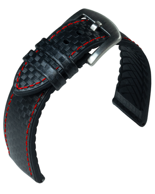 Eulit Eutec > Uhrenarmband schwarz rote Naht atmungsaktiv Carbonoptik  – Bild 1