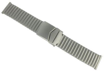 Herzog Uhrenarmband 22mm Zugband Edelstahl silberfarben matt Flexband  – Bild 1