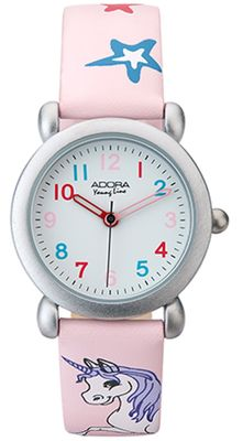 Adora Youngline > Quarzuhr Kinderuhr analog Ø 27mm > rosa Lederband