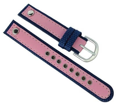 Adora Youngline Kinder Uhrenarmband 14mm blau /rosa Materialmix AY4300