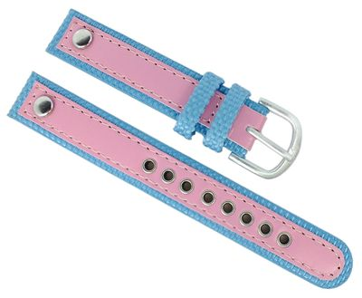 Adora Youngline Kinder Uhrenarmband 14mm Materialmix blau /rosa AY4302 – Bild 1