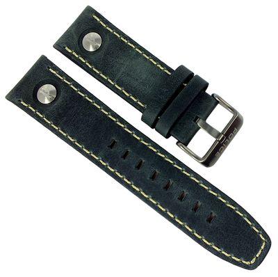 Police Navigator Uhrenarmband 24mm schwarz Leder 14799JSU/61 14799JSU – Bild 1