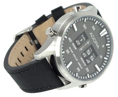 ADORA | DRUM ROLLER > Herren Armbanduhr Ø 44mm | Lederband schwarz – Bild 3