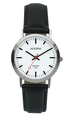 ADORA | Unisex Uhr > Ø 34mm | Edelstahlgehäuse | Lederband, schwarz