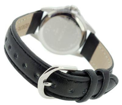 ADORA   Edelstahl Damenuhr > Ø 27mm   Lederband, schwarz   Datum – Bild 2