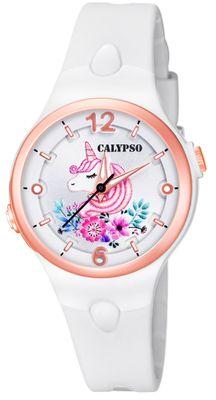 Calypso Kinderuhr | weiß analog Kunststoff | Motiv Einhorn | K5783/1 – Bild 1