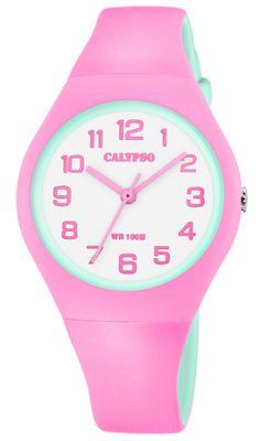 Calypso K5777/6 > Armbanduhr Kinder > analog rosa / grün Kunststoff