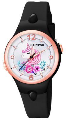 Calypso Kinderuhr | schwarz analog Kunststoff | Motiv Einhorn K5783/8