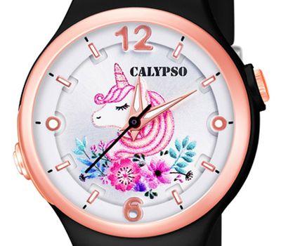 Calypso Kinderuhr | schwarz analog Kunststoff | Motiv Einhorn K5783/8 – Bild 2