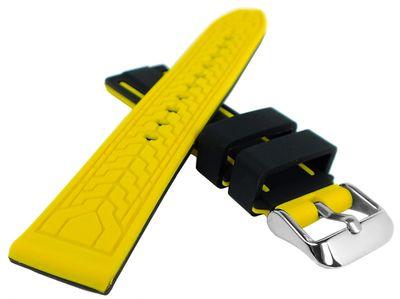 Minott | Uhrenarmband Silikon glatt weich schwarz/gelb Dornschließe – Bild 2