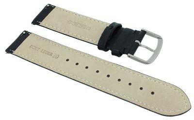 Herzog Beach Uhrenarmband easy click glattes Leder schwarz > Ziernaht – Bild 4