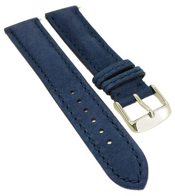 Herzog > Uhrenarmband blau > easy click Leder > Used-Look gepolstert – Bild 1