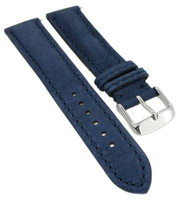 Herzog > Uhrenarmband blau > easy click Leder > Used-Look gepolstert – Bild 3