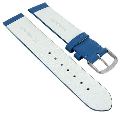 Herzog Beach II Uhrenarmband gleichlaufend blau mattes glattes Leder – Bild 4