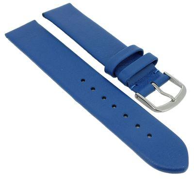 Herzog Beach II Uhrenarmband gleichlaufend blau mattes glattes Leder – Bild 3