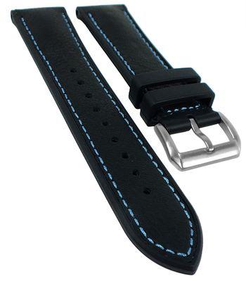 Herzog 3M Scotchg.- Rubber Uhrenarmband Materialmix blaue Naht schwarz – Bild 1