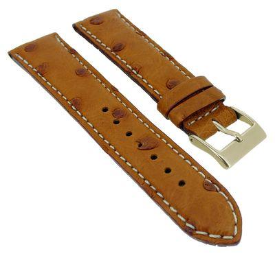 Herzog Echt Strauß > Uhrenarmband braun Leder helle Naht > handgenäht – Bild 1