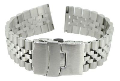 Herzog > Uhrenarmband 22mm > Edelstahl massiv silbern matt / glänzend  – Bild 1