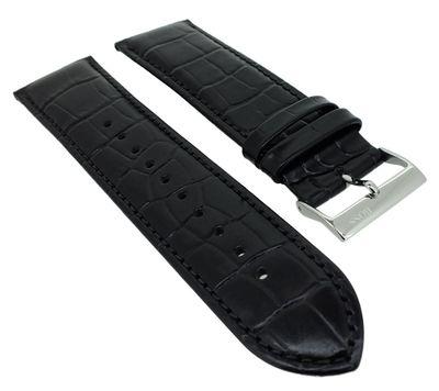 Hugo Boss | Uhrenarmband 24mm schwarz Leder Kroko-Optik Naht 1513480 – Bild 1