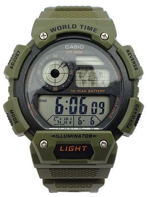 Casio Collection Armbanduhr Digital 5 Tagesalarme grün AE-1400WH-3AVEF – Bild 2