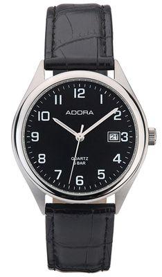 Adora   Herren Armbanduhr Analog Datum Lederband   Ø 37mm Edelstahl