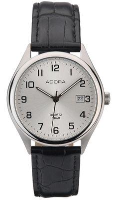 Adora   Herren Armbanduhr Analog Datumsanzeige Lederband   Ø 37mm