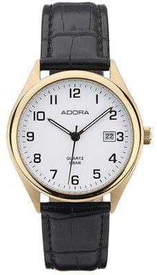 Adora   Herren Armbanduhr Analog Edelstahlgehäuse Lederband   Ø 37mm