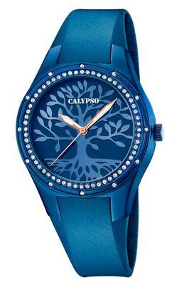 Calypso > Damen analoge Uhr Steinbesatz blau > Kunststoffband K5721/F