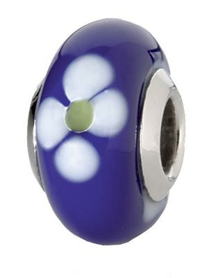 CEM Beads Drops Glaskugel blau 925/-Silber Kern CD701