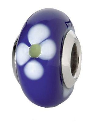 CEM Beads Drops Glaskugel blau 925/-Silber Kern CD701