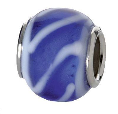 CEM Beads Glaskugel blau 925/-Silber CD703