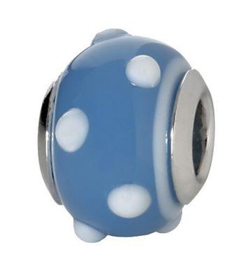 CEM Beads Glaskugel blau 925/-Silber CD711