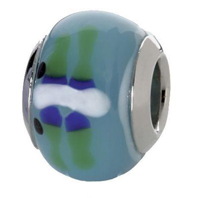 CEM Beads Glaskugel blau 925/-Silber CD713