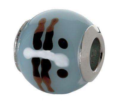 CEM Beads Glaskugel blau 925/-Silber CD719