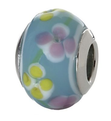 CEM Beads Glaskugel blau 925/-Silber CD720