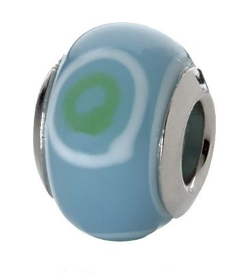 CEM Beads Glaskugel blau 925/-Silber CD721