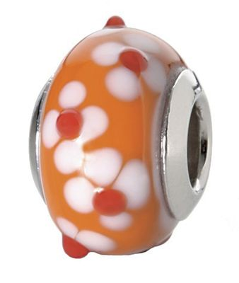 CEM Beads Glaskugel orange 925/-Silber CD726