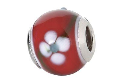 CEM Beads Glaskugel rot Glasbeads 925/-Silber CD736