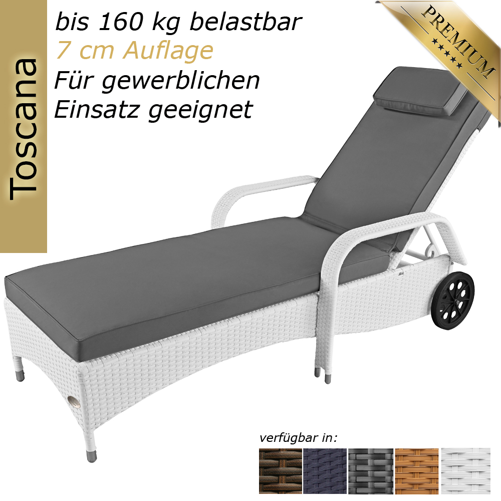 sonnenliege gartenliege liege liegestuhl relaxliege polyrattan rattan wei 4260162010569 ebay. Black Bedroom Furniture Sets. Home Design Ideas