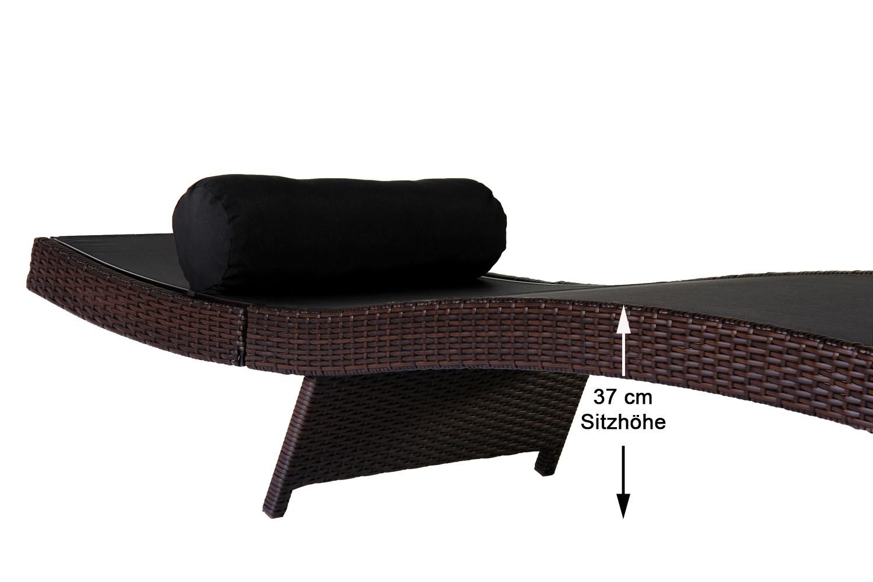 2x 160 kg tragf hige poly rattan gartenliege sonnenliege. Black Bedroom Furniture Sets. Home Design Ideas
